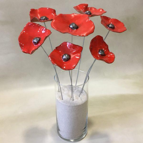 Bouquet de 7 coquelicots rouges en céramique