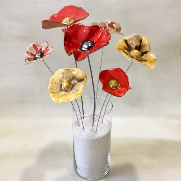 Bouquet de coquelicots céramique rouge et miel