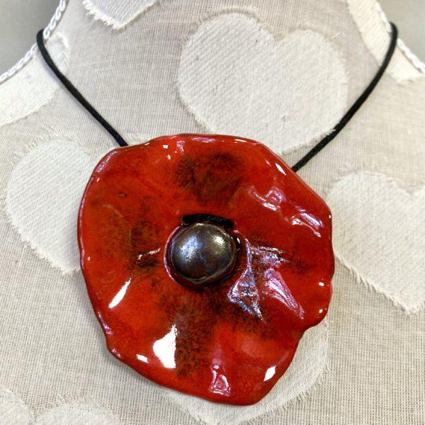 bijoux collier coquelicot